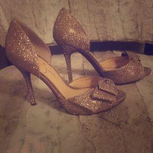 Jessica Simpson Gold Glitter Heels Size 6